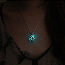 Steampunk Pretty Magic Round Fairy Locket Glow In The Dark Pendant Necklace Gift Glowing Luminous Vintage Necklaces P1176(China)