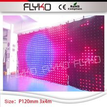PH12cm entertainment unit dj table booth stage background decoration 10ft by 14ft led curtain video with SD controller