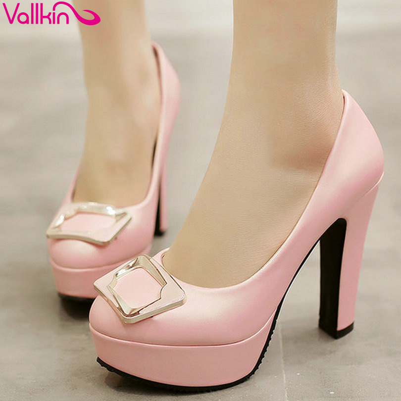 VALLKIN Sexy Platform Slip on Summer Women Shoes 10 CM Thin High Heel Soft  PU Woman Pumps Round Toe Ladies Wedding Shoe<br>