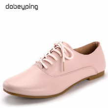 Genuine Leather Women Oxfords Casual Women's Shoes Lace-Up Female Flats Pointed Toe Woman Loafers Soft Driving Shoe Size 35-40