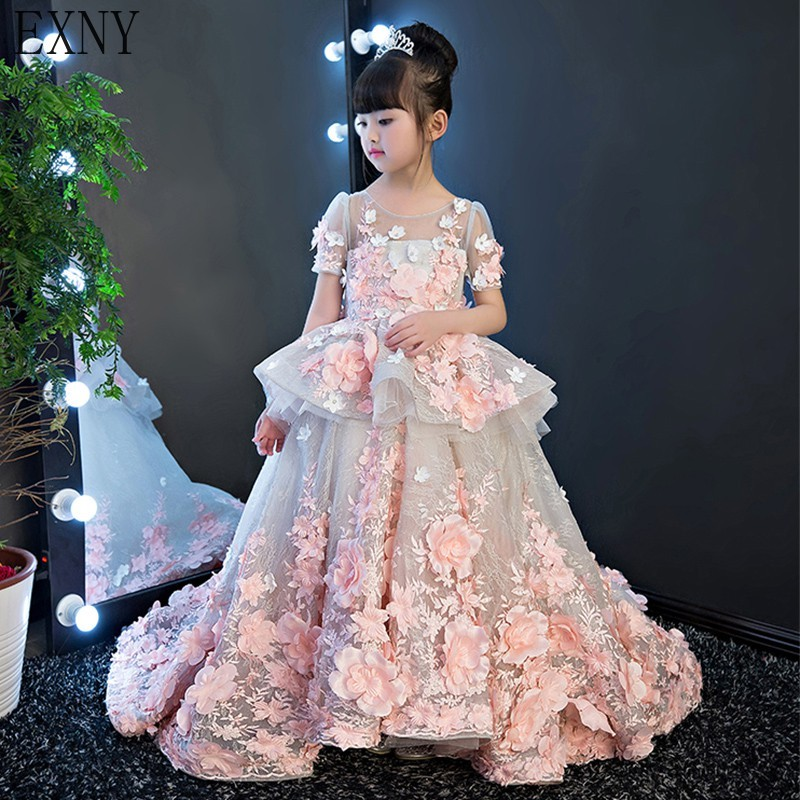 EXNY 2019 Pink Arabic Princess Flower Girl Dresses for Wedding Ball Gown 3D Floral Flowers Lace Girl Communion Dress