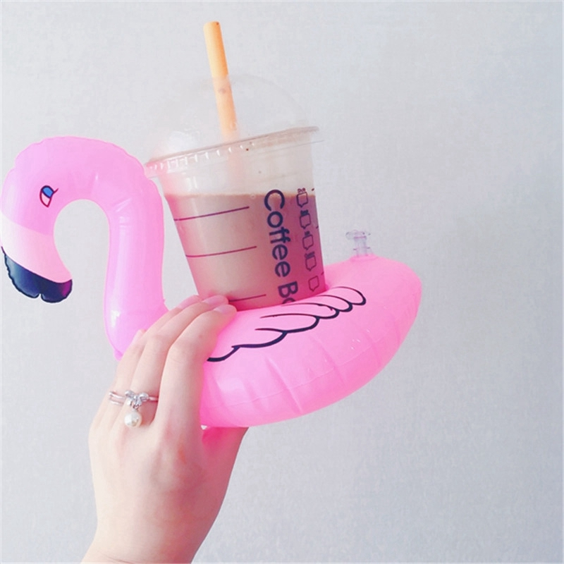 Cute Pink Flamingo Drink Holder PVC Inflatable Floating Swimming Pool Beach Party Kids Swim Beverage Holders (1)