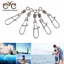 Relefree 50Pcs Hooked Fishing Swivel Pin Rolling Snap Hook Fishhook Lure Connector Tackle(China)