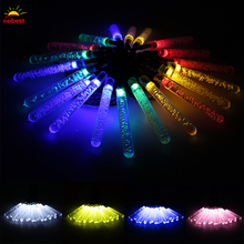 OOBEST Solar LED Lamp icicle string lights led fairy light Christmas lamps Icicle Lights Xmas Wedding Party Decoration decor(China)