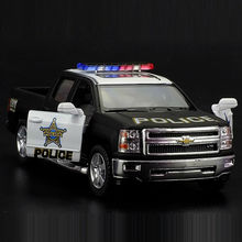High Simulation Exquisite Diecasts&Toy Vehicles: KiNSMART Car Styling Chevrolet Silverado Police CCar 1:46 Alloy Diecast Model(China)