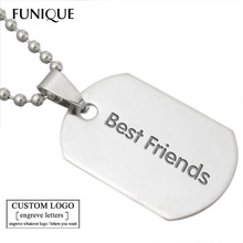 FUNIQUE Stainless Steel Polished Dog Tag Necklaces Pendants Stamping Blanks For Unique Lettering Pinch 3.9cmx2cm 10PCs(China)