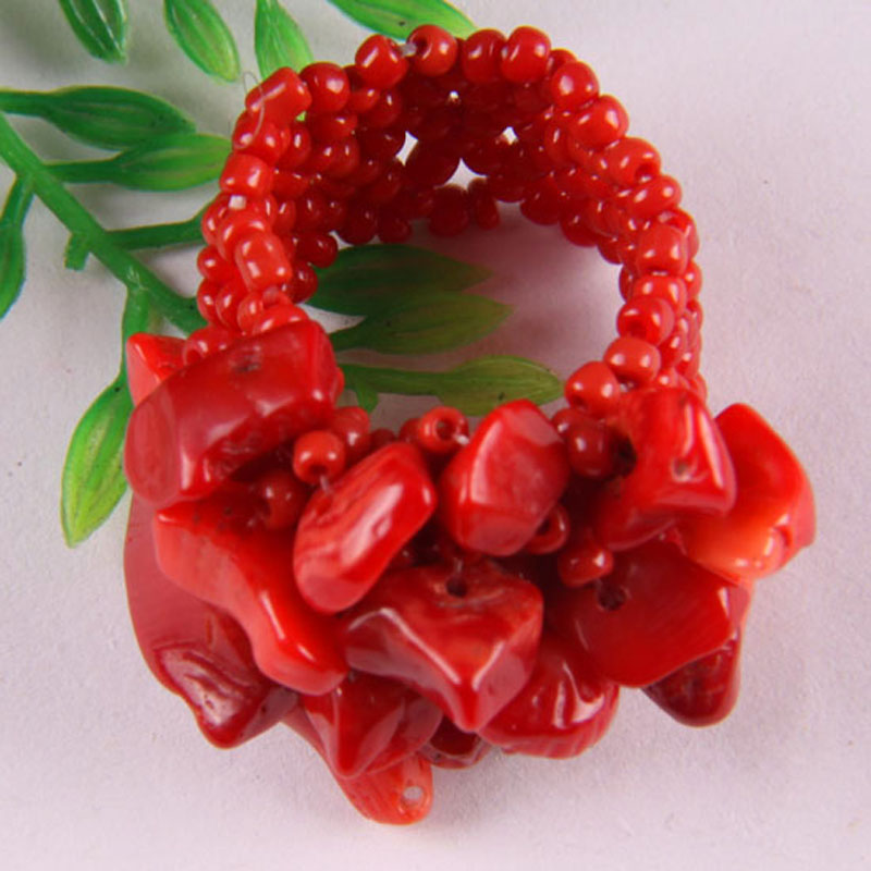 Elastic Red Sea Coral Bead Finger Ring Stretch Size 8-9 Jewelry For Woman Gift X005 title=