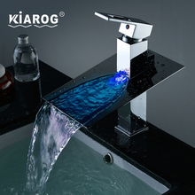 Bathroom Basin Led Faucet. Water Powered Led Waterfall Faucet. 3 Colors Changed by Water Temperature. Basin Sink Mixer Tap(China)