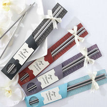 30Pair/LOT East Meets West Stainless steel chopsticks favor+Chinese style wedding favors +Free shipping(China)