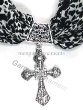Tibet Silver clear crystal Cross style scarf charms DIY scarves Christian Jewelry(China)
