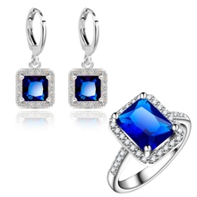 Yunkingdom Square Design Jewelry Sets Elegant Women's fashion Earrings Gold Color Blue zircon crystal Wedding Rings LPG2(China)