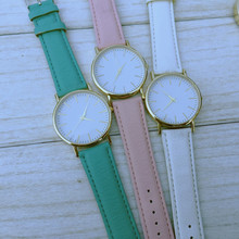 Wholesale Price New Clean Style Face Leather Strap Watch,6 Colors Available 2015 New Pink Women Quartz Watch