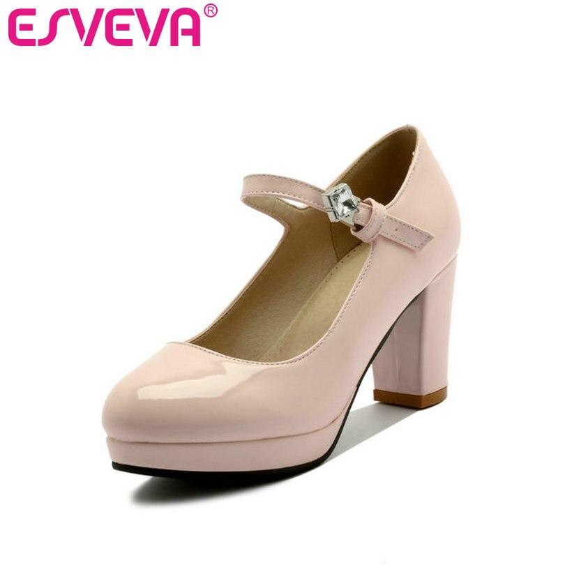 ESVEVA 2017 Pink  Wedding Thick High Heel Woman Pumps Round Toe Spring Autumn Women Shoes Platform  Dating Shoes Big Size 34-43<br>