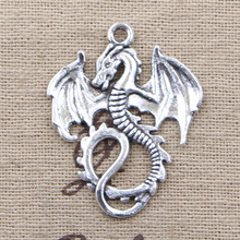 Buy 4pcs Charms dragon loong 34*26mm Antique Making pendant fit,Vintage Tibetan Silver,DIY bracelet necklace for $1.00 in AliExpress store