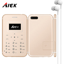 New AIEK/AEKU X8 Ultra Thin Card Mobile Phone Mini Pocket Students Phone Low Radiation Support TF Card PK AIEK C6 LED Torch(China)