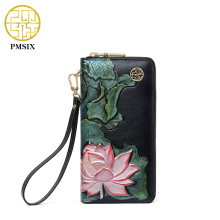 PMSIX 2017 New Embossed Lotus Ladies Leather Wallet Zipper Long Wallet Card Holder Clutch Carteira Feminina 410039(China)