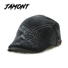 [JAMONT] Unisex Cotton French Berets Hat For Men Women Leisure Buckle Beret Painter Hat Peaked Caps Flat Newsboy Casquette Homme(China)