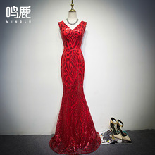 V Neck Sequin Beaded Mermaid Long Evening Dress Mother of Brides Formal Dresses Red Silver aftenkjole