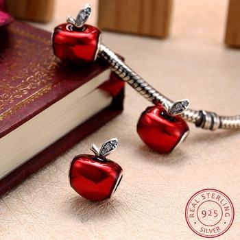 АЗИЗ BEKKAOUI Стерлингового Серебра Красной Эмалью Apple Приспособленный Шариками Пандора Браслеты Шарма Аутентичные стерлингового серебра 925 diy шарики