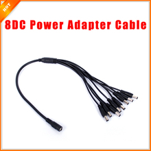 Free Shipping 1 to 8 DC Power Splitter Adapter Cable CCTV Camera Cable for Security System