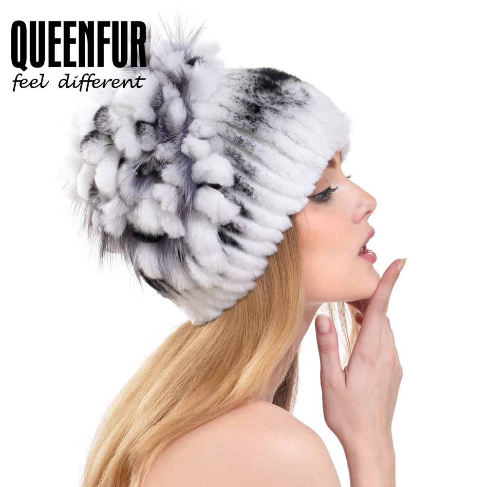 QUEENFUR 2017 Genuine Rex Rabbit Fur Cap With Fox Fur Top Flower Stripe Women Real Fur Luxury Beanies MulticolorОдежда и ак�е��уары<br><br><br>Aliexpress