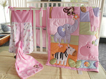 Giol Me Num 4-6 Items Pink Zoo Pattern Embroidery Baby Bedding Set Baby Quilt+Bumper+Bed Skirt+Mattress Cover+Diaper Bag+Blanket(China)