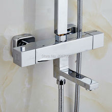Free Shipping Good quality Square wall mounted bathtub faucet thermostatic valve shower mixer Temprature Control Valve Tap ZR965