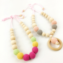 Let's Make 2PC/lot Crochet beads Baby Teething necklace mom wearing necklace for Breastfeeding