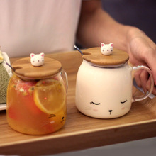 Transparent Glass Cute Cat 500ml Coffee Milk Tea Cup with Cover Spoon Microwave Oven Milk Mug