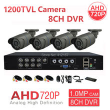 CCTV Outdoor 8CH HD 3-IN-1 Hybrid 1080P DVR 4CH 1200TVL Security Camera System AHD 720P P2P PC Phone Mobile View MotionDetection