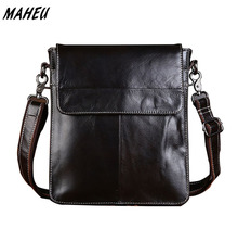 Men vertical genuine leather iPad bag Black real messenger bag Flap cross body bag medium Casual handbags high quality