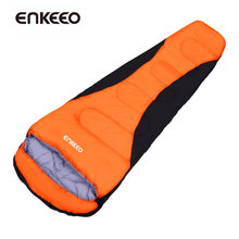 Enkeeo Mummy Sleeping Bags Waterproof Shell Inner Hollow Cotton Lightweight Compact for Camping Backpacking Hiking Orange(China)