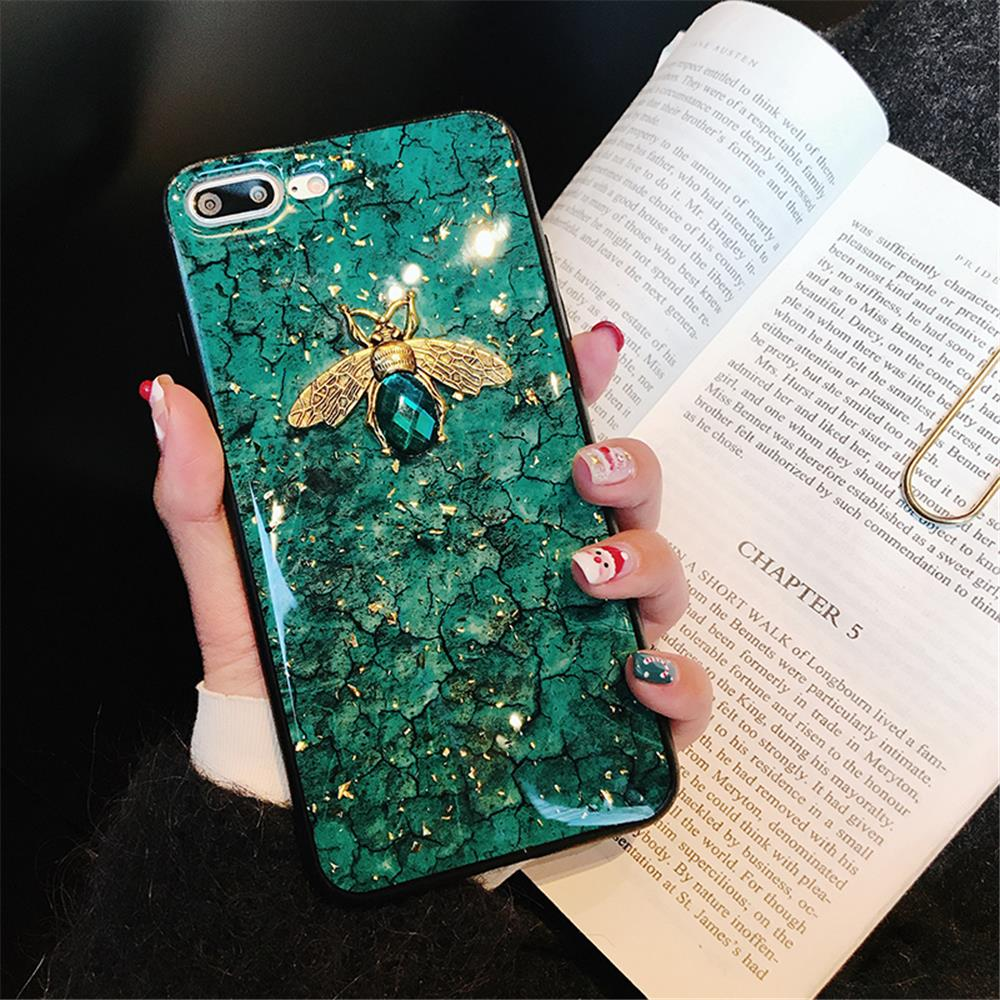 Luxury Green Diamond Crack Marble Phone Case For iphone 7 8 6 6s Plus Bee With Wing Funda cover for iphone XS MAX XR X back   (13)