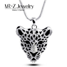 New 2016 Fashion Wild Hollow out Rhinestone Leopard Necklaces Animal Jewelry 5pcs/lot Free Shipping