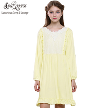 Hot Womens Soild Color Vintage Nightdress Long Sleeve Female Sleepwear Princess Dress Cotton Nightgowns for Ladies YC138(China)