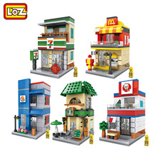 LOZ Blocks Street Shop Building Lepin Bela Decool Blocks Cute Store Coffee Auction Bricks Christmas Gift Not Leoge Figures Toys