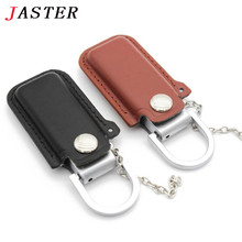 JASTER Fashion 2 colors Leather USB Flash Drive 4GB 8GB 16GB 32GB keychain Pendrive 32GB flash Memory stick Pen Drive