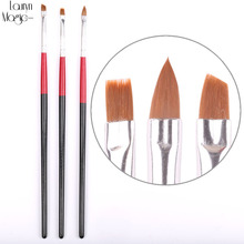 1 Set (3 pcs) UV Gel Acrylic Nail Art Brush Painting Drawing Nail Pens