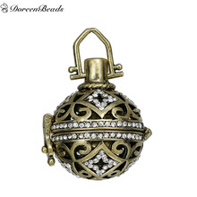 DoreenBeads Vintage Copper Wish Box Pendants Antique Bronze Clear Rhinestone Can Open (Fit Bead Size: 16mm) 34mm x 25mm, 1 PC