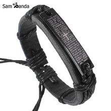Free Shippping New Fashion Men Jewelry Jesus Cross Leather Bracelets & Bangles Wrap Friendship Bracelet Pulseras Gift YK2002(China)