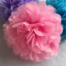 "Handmade 6'' 10"" Tissue Paper Flower Ball Pompom For Home Garden Romantic Wedding Birthday&Wedding Car DTY Decoration 20Colors(China)"