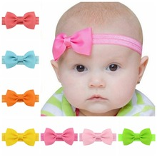 2.78 Inch 1pcs Lovely Elegant Bow Tie Headband Small Hair Bands Hair accessory Solid Color Hair Accessories For Kids 644(China)