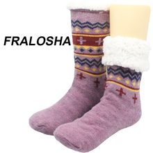 Buy FRALOSHA Long floor Socks Home Slipper Women's Winter Warm Fuzzy Anti-Skid Lined Indoor Floor Slipper Socks for $13.40 in AliExpress store