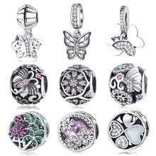 Original 100% 925 Sterling Silver Bead Crystal Fluttering Butterflies Flower DIY Charms Pendant Fit Pandora Bracelets Jewelry(China)