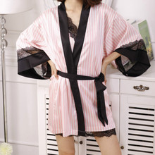 1Set Sexy Women Pink Bathrobe Soft Silk Slip Satin Robes for Pajamas Party Diamond Female Night Gown Pink Striped Sleepwear(China)