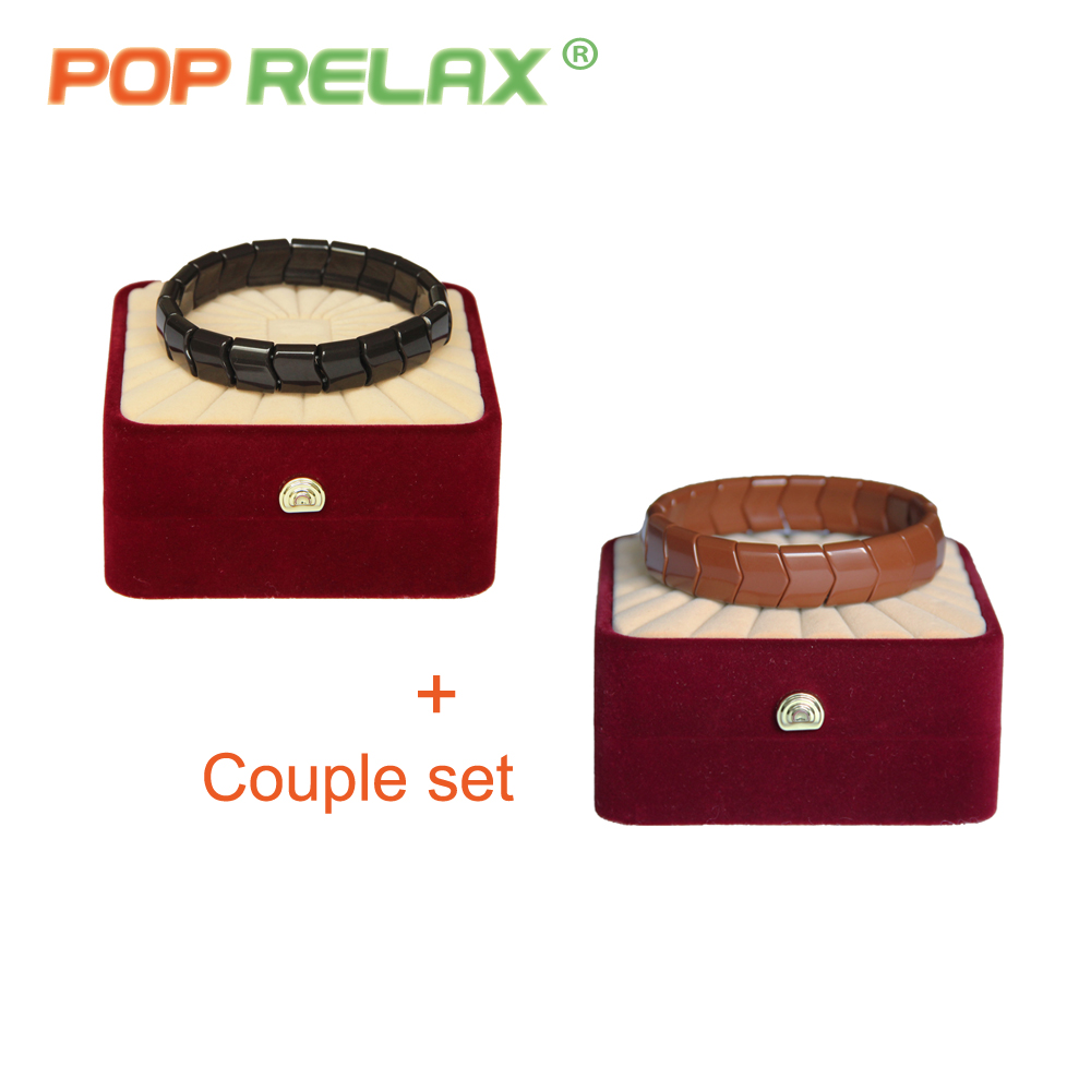 POP RELAX Korea tech tourmaline germanium bracelet physical therapy health care anion stone jewelry bracelet for couples fashion<br>