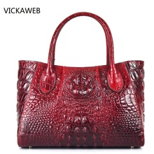 new high quality women leather handbags embossed crocodile pattern women handbag famous designer vintage tote bag(China)