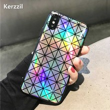 Kerzzil Shining Geometry Triangle Square Laser Phone Case For iPhoneX Fashion Cases For iphone X Soft Silicone Back Cover Capa(China)
