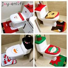 JOY ENLIFE 3pc Set Christmas Interior Decoration Xmas Happy Santa Toilet Seat Cover
