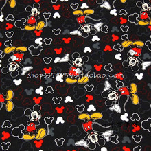 105X100cm Mickey Mouse and Icons Toss Black Cotton Fabric for Boy Clothes Bedding Set Sewing Hometextile Patchwork DIY-AFCK076(China)